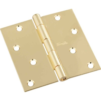 National 4 In. Square Polished Brass Door Hinge