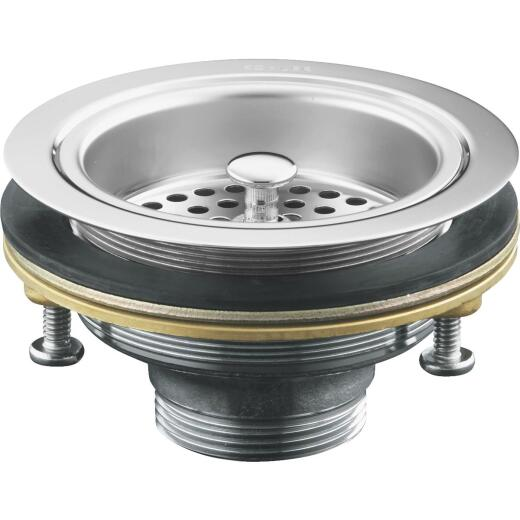 Kohler Duostrainer 3-1/2 In. to 4 In. Opening Basket Strainer Assembly in Polished Chrome Finish