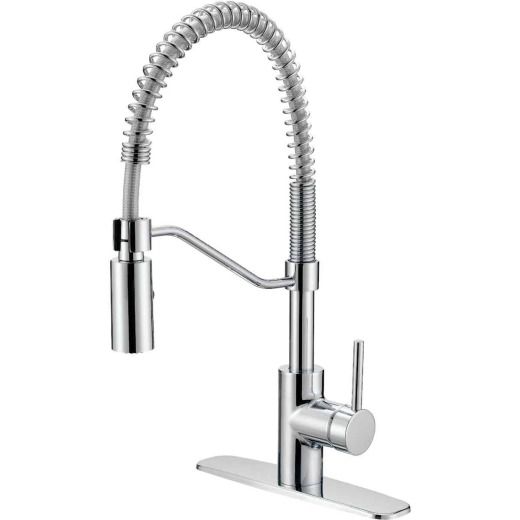 Home Impressions Single Handle Lever Commercial Pull-Down Kitchen Faucet, Chrome