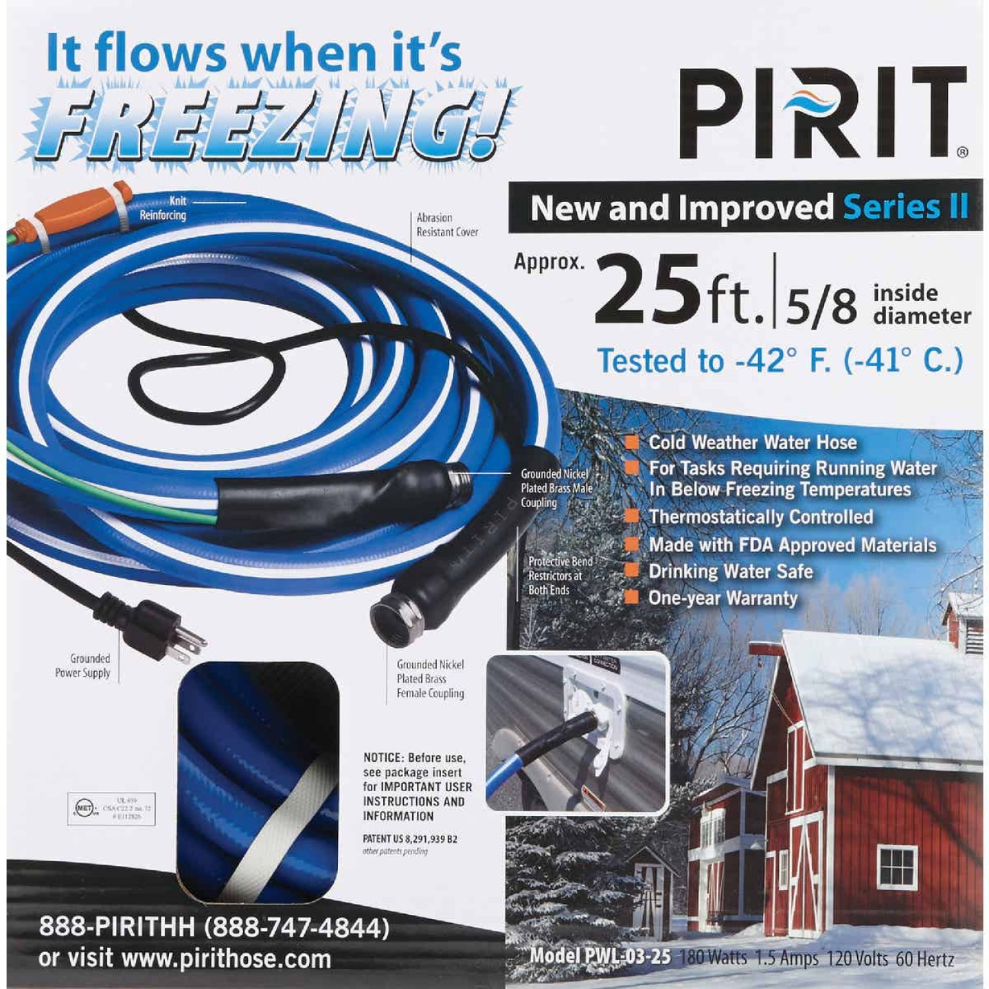 Pirit 5/8 In. Dia. x 25 Ft. L. Heated Water Hose Image 2