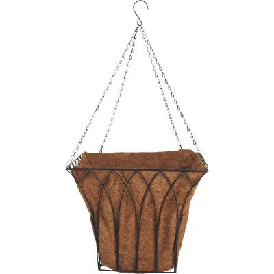 Best Garden 14 In. Steel Rod Black Hanging Plant Basket